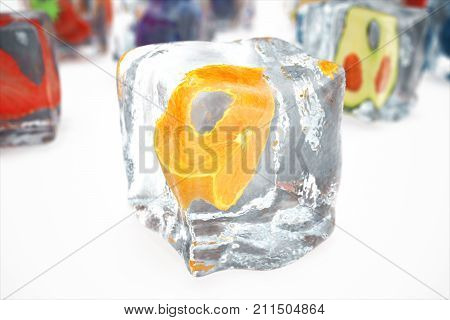 Orange in ice cube isolated on white with depth of field effects. Ice cubes with fresh berries. Berries fruits frozen in ice cubes. 3D rendering