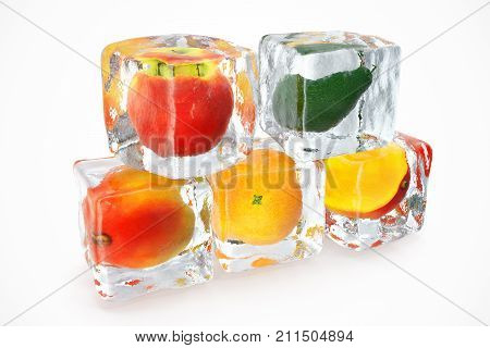 Fruits in ice cubes isolated on white with depth of field effects. Ice cubes with fresh berries. Berries fruits frozen in ice cubes. 3D rendering