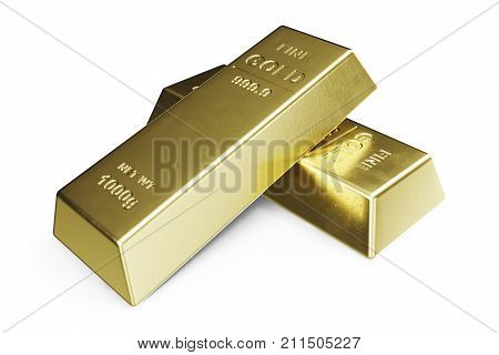 Gold Bars isolated on white background, weight of Gold Bars 1000 grams Concept of wealth and reserve. Concept of success in business and finance, 3d illustration