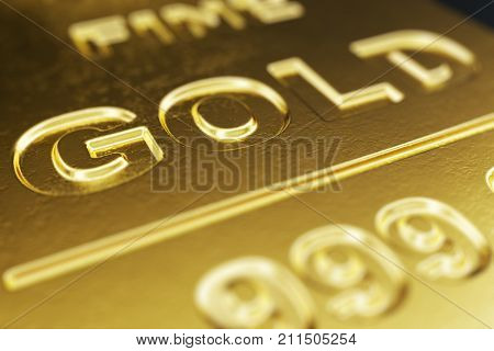 Close-up, macro Shiny Gold Bars, weight of Gold Bars 1000 grams Concept of wealth and reserve. Concept of success in business and finance. 3d illustration