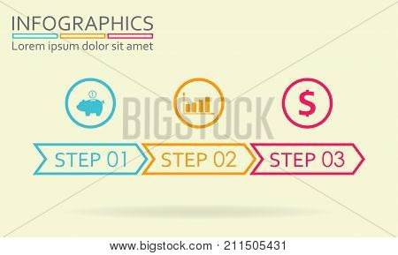 Step by step infographics with arrows. Three steps infographics template. Vector illustration.
