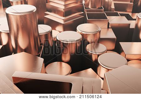 Cylindrical copper steel profiles, hexagonal copper steel profiles, square copper steel profiles. Different copper steel products. 3D illustration