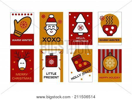 set christmas cards. merry christmas. stock vector