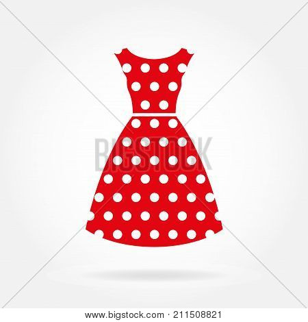 Dress icon. Women's red dress in polka dot. Vector illustration.