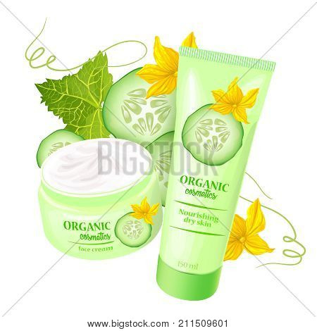 Branded tubes of nourishing cream, lotion with cucumber for dry skin realistic vector illustration isolated on white background. Organic cosmetics concept for womens body care eco beauty product ad