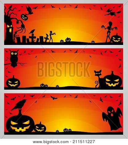 Halloween orange banners for your text and decorations.
