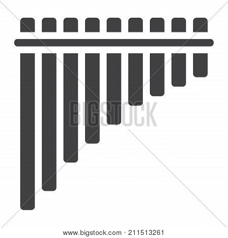 Mexican pan flute glyph icon, music and instrument, panpipe sign vector graphics, a solid pattern on a white background, eps 10.