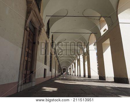 Piazza Castello Colonnade In Turin