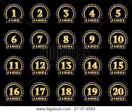 Set Of Gold Numbers From 1 To 20 And The Word Of The Year Decorated With A Circle Of Stars. Vector I