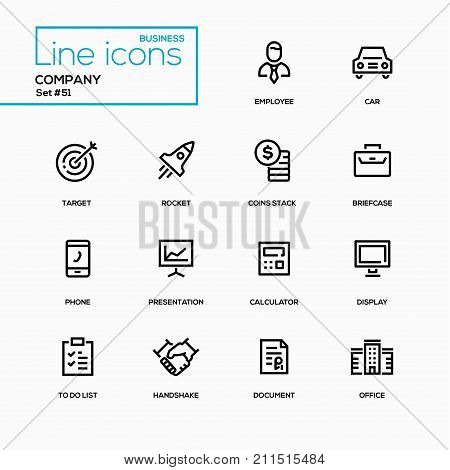 Business concept, company - line design icons set. Employee, car, target, rocket, coins stack, briefcase, phone, presentation, calculator, display, to do list, handshake, document, office