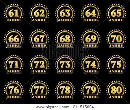 Set Of Gold Numbers From 61 To 80 And The Word Of The Year Decorated With A Circle Of Stars. Vector