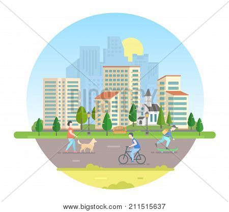 Active citizens - modern vector illustration in a round frame. Lovely city on white background with a road, church, lanterns, bench, buildings, trees. People with a dog, bicycle, on a skateboard