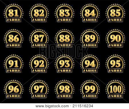 Set Of Gold Numbers From 81 To 100 And The Word Of The Year Decorated With A Circle Of Stars. Vector