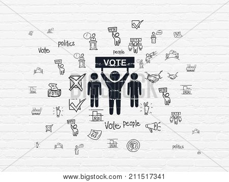 Political concept: Painted black Election Campaign icon on White Brick wall background with  Hand Drawn Politics Icons