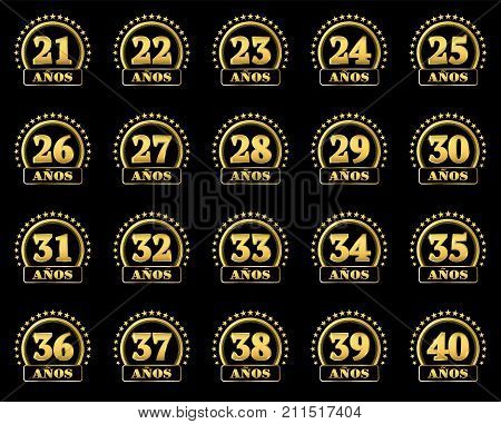 Set Of Gold Numbers From 21 To 40 And The Word Of The Year Decorated With A Circle Of Stars. Vector