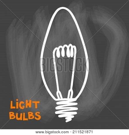 Light bulbs icon. Concept of big ideas inspiration, innovation, invention, effective thinking. CFL lamp.  Isolated. Vector illustration.  Idea symbol. Vector. sketch. Sign. On chalck background.