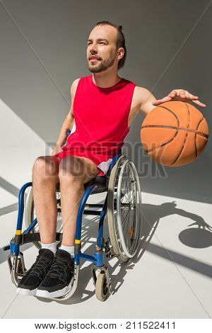 Handicapped Sportsman Playing Basketball