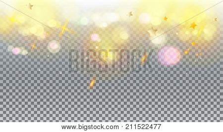 Gold and white abstract bokeh background, shiny defocus lights vector. Gold defocused sparkles, blurred, transparent, magic decoration. Birthday party, Christmas, Holiday event, celebration, aniversary, advertising design.
