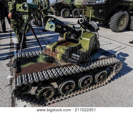 Special anti terrorist vehicle equiped with machine gun