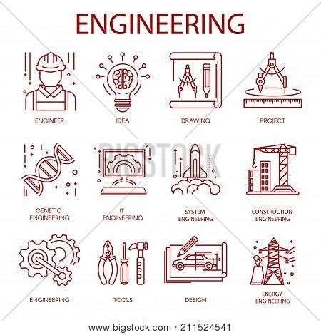 Engineering icons for construction building or plan drawing and energy technology. Vector line set of constructor helmet, idea lamp or project layout work tools and genetic engineer or it developer