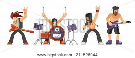 Rock music or rockers band performing on stage with guitarist, percussion drummer man and singer. Rock concert performance stage and musical instruments vector flat isolated icons