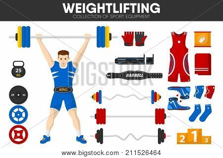Weightlifting sport gym equipment and weightlifter man accessories and garment uniform accessories. Weight barbell, support belt and championship victory award pedestal. Vector isolated flat icons set