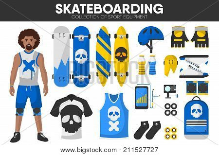 Skateboarding sport equipment and skateboarder man clothing garment or uniform accessories. Skateboard and protective gloves, knee or helmet, skate wheels and action camera. Vector isolated icons set