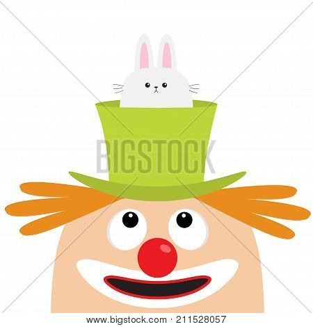 Clown face head looking up. Eyes red nose mouth smile orange hair. Rabbit hare in magician magic hat. Cute cartoon funny baby character. Circus symbol. Flat design. White background Isolated Vector