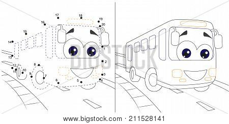 bus.numbers game  for children. dot to dot educational kid game(with answer). coloring page. black and white drawing. cartoon vector, editable layers