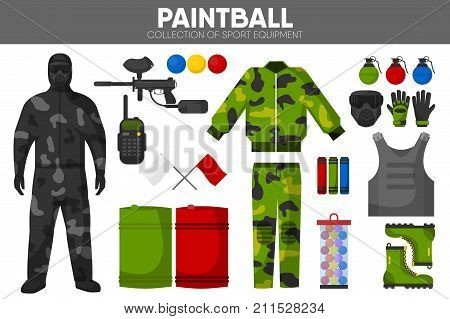 Paintball game sport equipment and team player man clothing garment or uniform accessories. Paint ball and gun rifle, camouflage protective costume, glasses mask and target. Vector isolated icons set