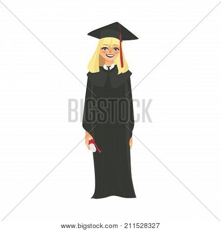 vector flat cartoon female college, university happy graduate character, blond girl in graduation gown, cap holding diploma smiling. Isolated illustration on a white background.