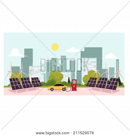 vector flat cartoon Alternative eletricity source scenes set. solar panels battery, sun power cells plant, windmills turbine eco energy source station set. Isolated illustration on a white background.
