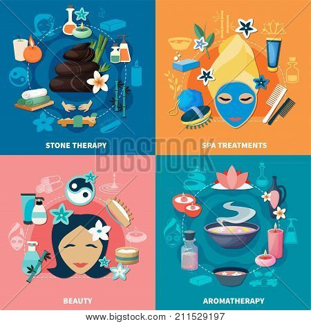 Spa wellness resort mineral spring water baths stone massage and aromatherapy 4 flat icons isolated vector illustration