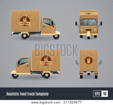 Food trucks realistic ad template design vector illustration with four isolated views of three wheeler car vector illustration