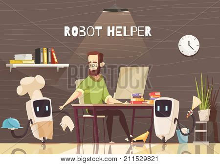Domestic service robotic assistants performing household chores for working on laptop man cartoon poster vector illustration