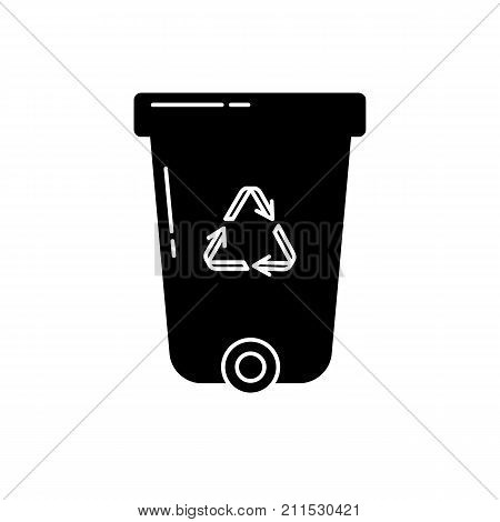 Recycle bin silhouette icon in flat style. Trash can with recycling symbol arrows isolated on white background.