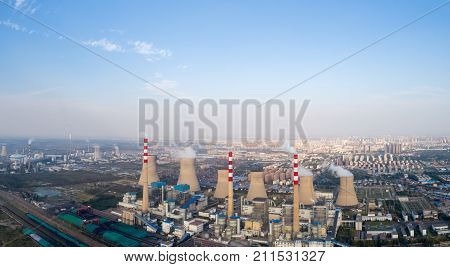 panoramic view of thermal power plant dezhou city shandong provinceChina