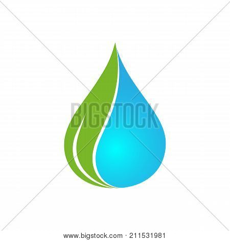Vector logo template for mineral water. Water drop with green leaf. 3d design. Alternative energy concept icon. Ecology logotype. EPS10. Bio technology label.