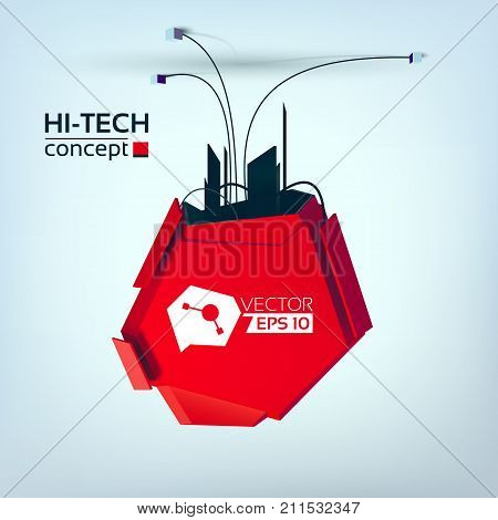 Hi-tech abstract template with reverse mechanical metal object in futuristic style on light background vector illustration