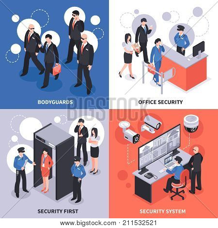 Security system isometric design concept with bodyguards, office access control, video monitoring, checkpoint isolated vector illustration poster