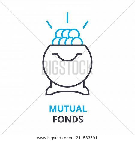 mutual fonds concept, outline icon, linear sign, thin line pictogram, logo, flat vector, illustration