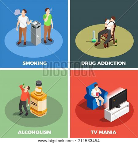Addictions isometric design concept with smoking, drug, alcoholism and tv mania isolated on color background vector illustration
