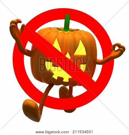 Sign No Pumpkin Halloween Isolated On White