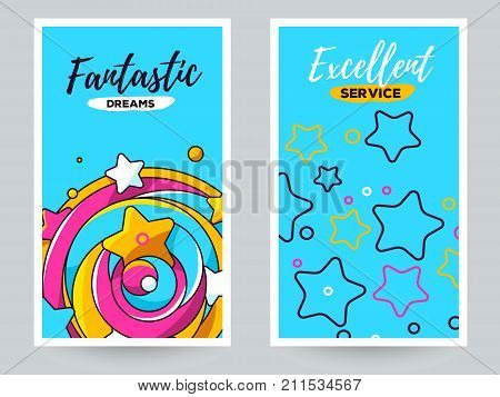 Vector Greeting Template With Star Illustration. Big Twirled Shape With Star And Star Background. Lo