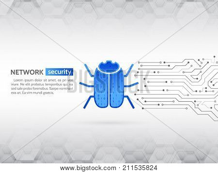 Hacking and cyber crime. Personal data security concept. Abstract high tech circuit board with hacker bug. Network security technology. Computer virus attack