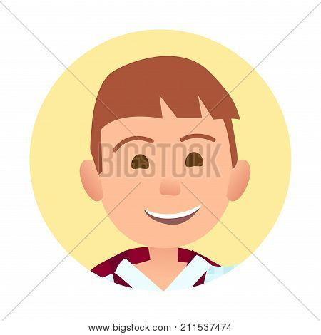Young boy with broad sincere smile portrait inside yellow circle isolated vector illustration on white background. Childish emotional cartoon face.