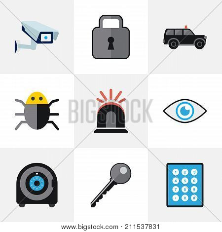 Set Of 9 Editable Procuring Flat Icons. Includes Symbols Such As Open, Hatchback, Virus And More
