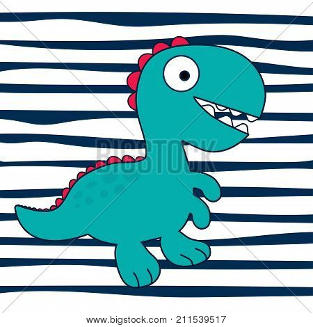 dinosaur Rex on striped background cute dinosaur on background with blue strips T-shirt design vector illustration