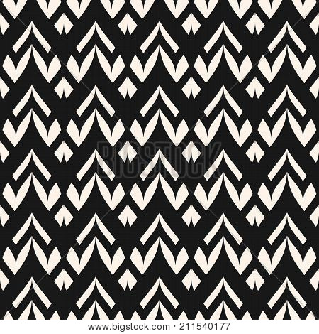 Vector geometric seamless pattern. Monochrome ornamental texture with smooth linear shapes, zigzag lines, lace pattern. Simple abstract ornament background. Dark design for decor, fabric, cloth. Lines pattern. Herringbone pattern. Zigzag pattern.
