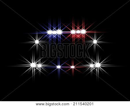 Abstract light effects. Police car at night with lights in front. Vector illustration